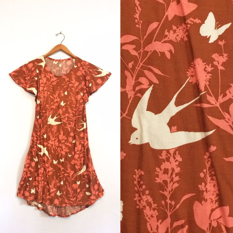 935dbebbbee Vintage 70s Bird Butterfly Caftan Kaftan Dress / Flutter Sleeve Summer  Dress / Brown Pink Hippie Boho Festival Dress / Small