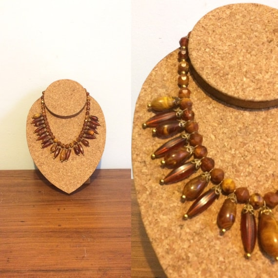 Vintage beaded boho necklace 60s beaded necklace 70s necklace boho jewelry, tonal brown beaded necklace