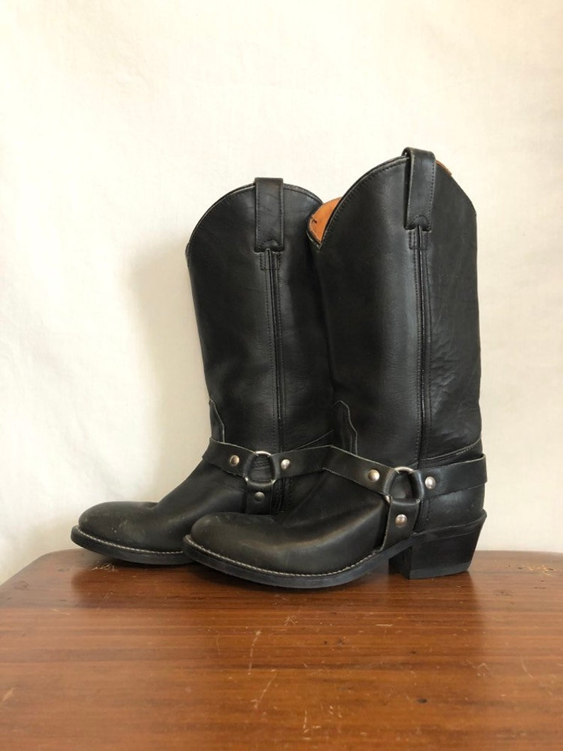 c66ef9d8e07f2c Vintage 80s Black Distressed Moto Harness Boots   Motorcycle