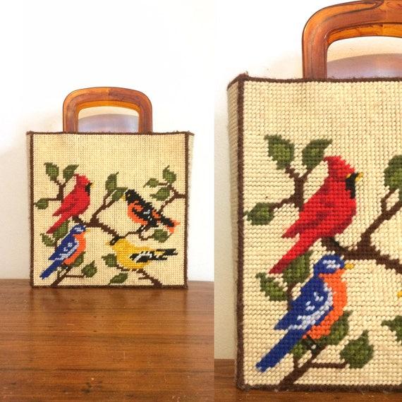 Vintage 60s Needlepoint Bird Purse / Embroidered T