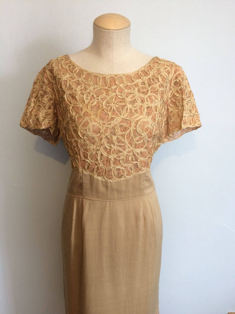 Vintage 60s Crochet Ribbon and Linen Wiggle Dress  Pin Up Tan Woven Dress  Plus Size Mid Century Cocktail Dress  Large