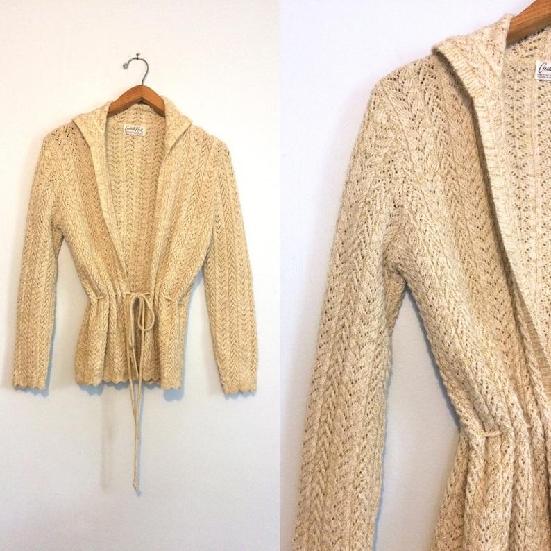 63d3a728bb58d7 Vintage 70s 0atmeal Crochet Cardigan   Metallic Gold Flecks