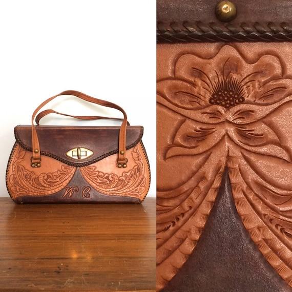 Vintage 70s Tooled Leather Purse / Hippie Boho Lea