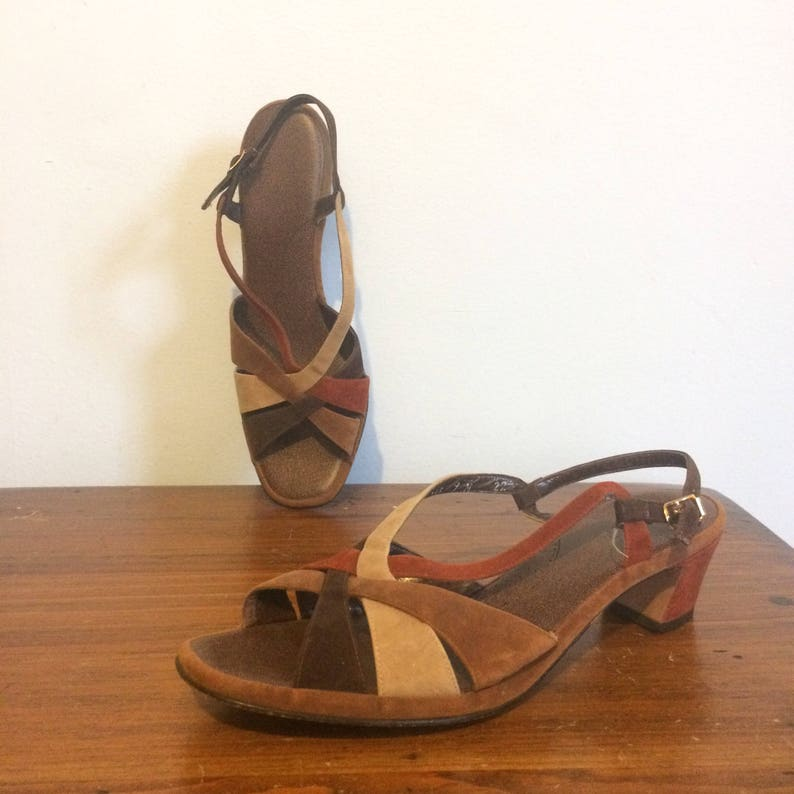 a847392caf14 Vintage 70s Hippie Strappy Sandals   Boho Rust Brown Low Heel