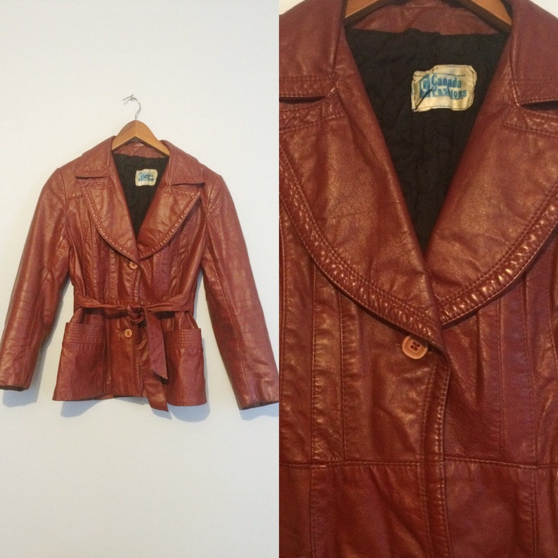 ccf054680ad Vintage 70s Rusty Red Belted Leather Jacket   Short Leather