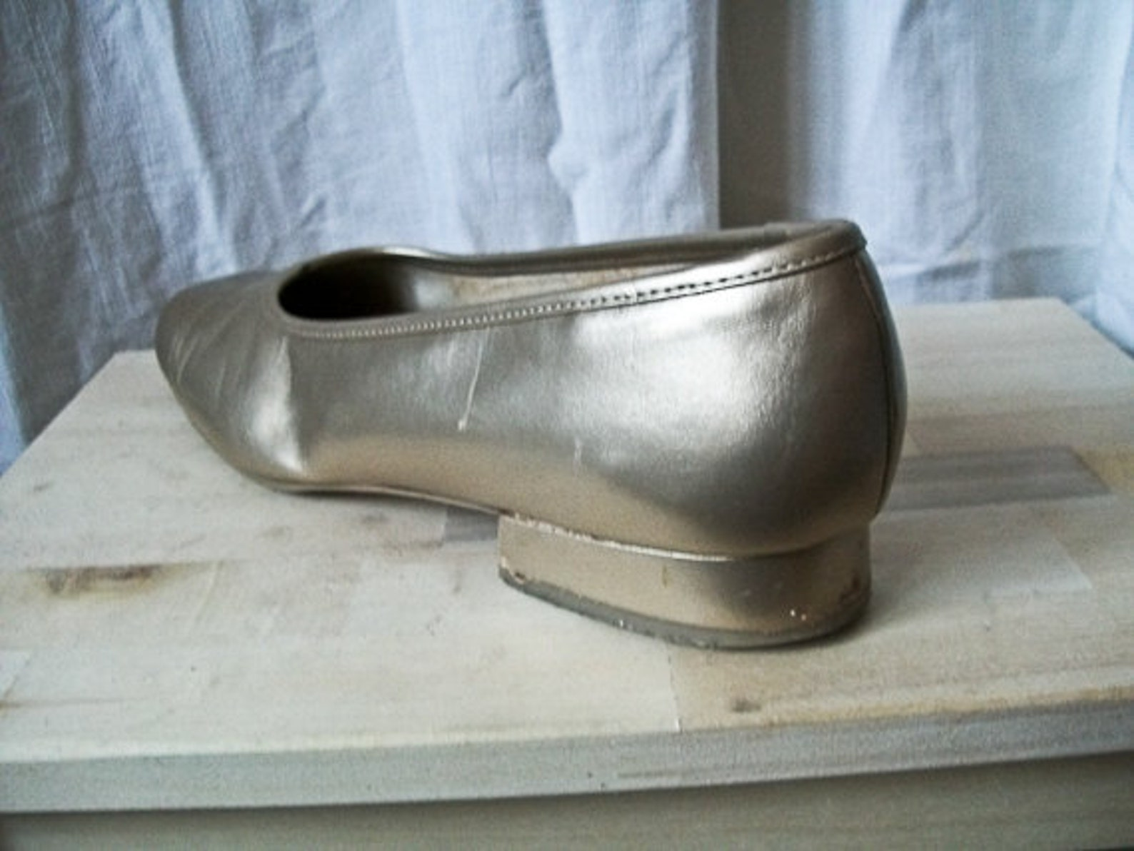 sale vintage 80s gold marco tozzi leather ballet flats size 10 10.5 us 42 eu uk 8.5
