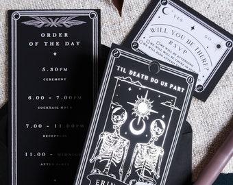 Unique Foiled Tarot Card Invitation Suite 'Til Death Do Us Part', Personalised 3 piece set for Wedding & Events