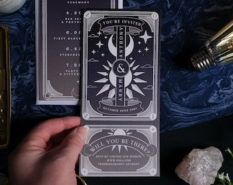 Unique Tarot Card 'Dusk and Dawn' Invitation, Personalised Invitation RSVP card for Wedding & Events