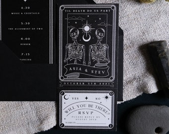 Unique Tarot Card 'Til Death Do Us Part' Invitation, Personalised Invitation RSVP card for Wedding & Events