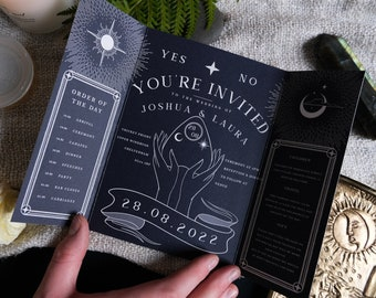 Unique Tarot Card Ouija Wedding Invitation 'Til Death Do Us Part', Personalised Invitation card for Wedding & Halloween Events