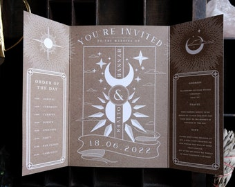 Kraft Paper Sun and Moon Wedding Invitation 'Written in the Stars', Personalised Invitation card for Wedding & Boho Events