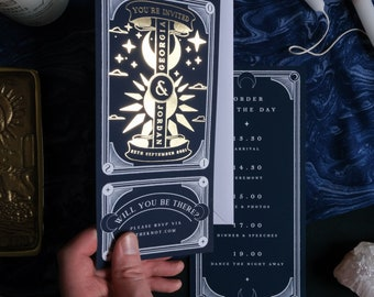 Gold Foil 'Sun and Moon' Tarot Card Invitation, Personalised Invitation RSVP card for Wedding & Events