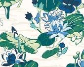 One 18 quot L Custom Lined Faux Flat Roman Shade Valance - Robert Allen Madcap Agawam Ocean - Floral Blue Green