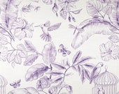 One Custom Lined Faux Flat Roman Shade Valance - Toile Bird Butterfly Menagerie Grape - Purple