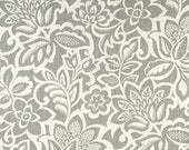 One Custom Lined Faux Flat Roman Shade Valance - Floral Haze - Grey Cream