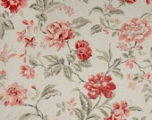 Two 26 x 26 Custom Pillow Euro Covers - Duralee Geranium Floral - Grey Coral Pink Red