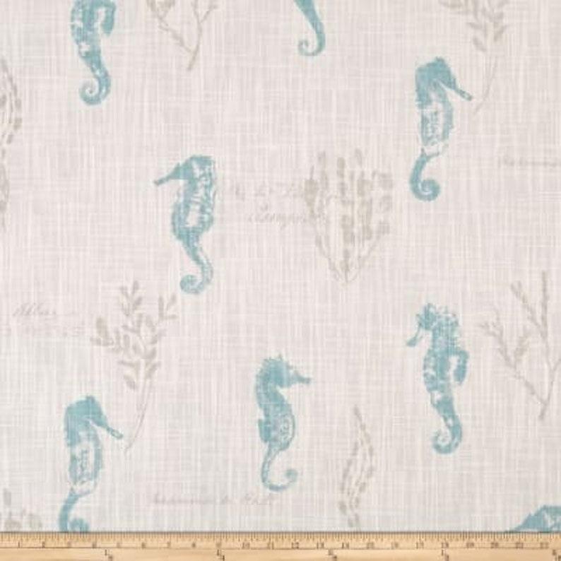 One Custom 18 x 50 Valance Blue Beige Ocean Love Seahorse Coral