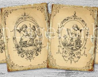 CHERUB angels...paper ephemera digital download for postcards, greeting cards,tags,ATC,scrapbooking,jewelry