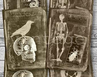 spooky HALLOWEEN...cards & paper ephemera digital download for junk journals, postcards, greeting cards,tags,ATC,scrapbooking