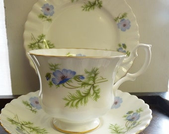 VINTAGE China Trio Cup & Saucer Richmond Blue Poppy Fluted English