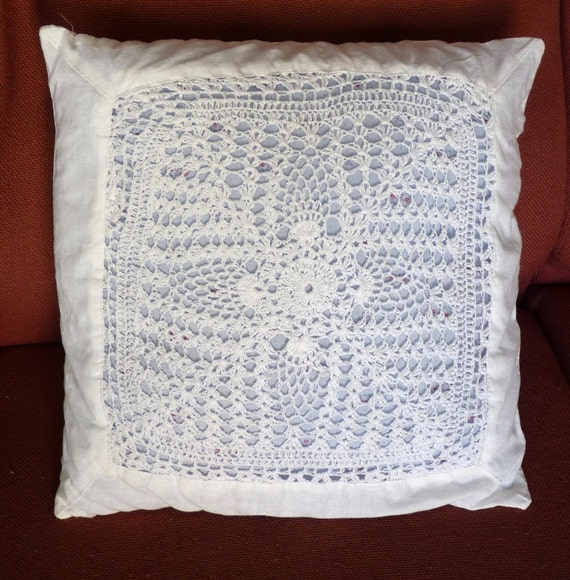 Upcycled VINTAGE Crochet CUSHION Pillow