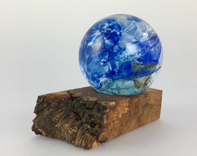 Featured listing image: Glass Marble and Wood Stand by Jonathan Winfisky - Paperweight
