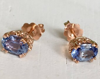 Periwinkle Violet Blue Sapphire Earrings 14k Rose Gold