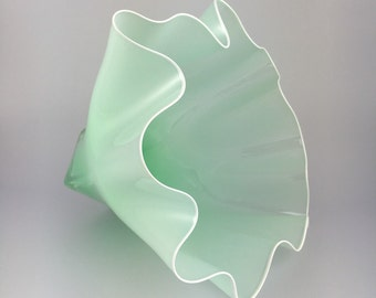 Hand Blown Glass Bowl - Opaque Mint Shell Bowl Form by Jonathan Winfisky