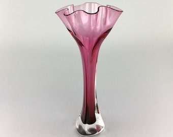 Hand Blown Glass Vase - Ruby Red Flower Top Bud Vase by Jonathan Winfisky