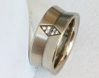 Vintage Diamond Wedding Band - Palladium Sterling Silver
