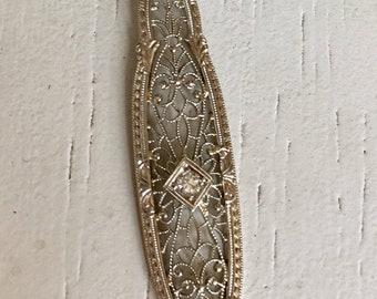 Striking Diamond Filigree Pendant Necklace - 14k White Gold