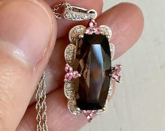 Vintage Diamond, Smoky Quartz, Pink Sapphire Filigree Pendant Necklace - 14k White Gold