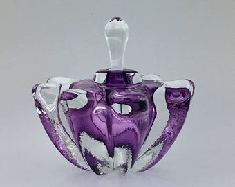 Hand Blown Glass Perfume Bottle - Amethyst Purple Optic  by Jonathan Winfisky