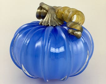 "4"" Glass Pumpkin by Jonathan Winfisky - Opaque Electric Blue - Hand Blown Glass"