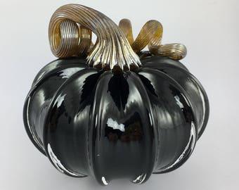 """4"""" Glass Pumpkin by Jonathan Winfisky - Opaque Black - Hand Blown Glass"""
