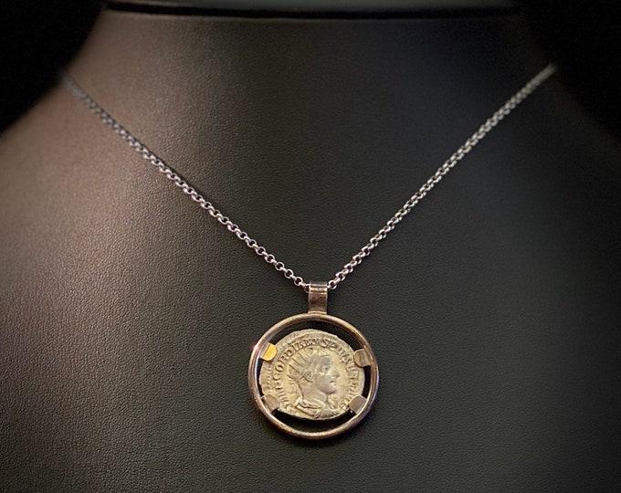 Antique Coin Pendant - Gordian III - Ancient Roman Silver Coin