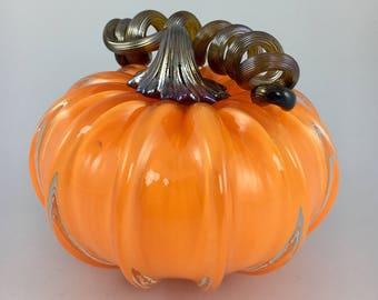 """4"""" Glass Pumpkin by Jonathan Winfisky - Opaque Bright Orange - Hand Blown Glass"""