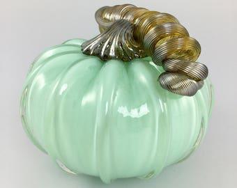 """4"""" Glass Pumpkin by Jonathan Winfisky - Opaque Mint Green - Hand Blown Glass"""