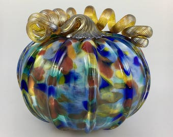 "4.5"" Glass Pumpkin by Jonathan Winfisky - Mottled Series - Rainbow Multi - Hand Blown Glass"