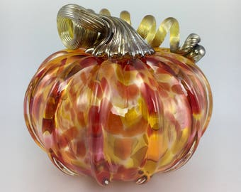 "4.5"" Glass Pumpkin by Jonathan Winfisky - Mottled Series - Orange /Red- Hand Blown Glass"