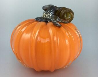 """5"""" Glass Pumpkin by Jonathan Winfisky - Opaque Bright Orange - Hand Blown Glass"""
