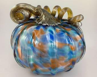 """4.5"""" Glass Pumpkin by Jonathan Winfisky - Mottled Series - Blue /Rust- Hand Blown Glass"""