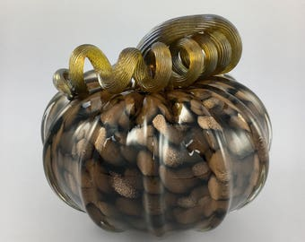 "4.5"" Glass Pumpkin by Jonathan Winfisky - Rose Gold Glimmer Series - Black - Hand Blown Glass"
