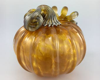 "4.5"" Glass Pumpkin by Jonathan Winfisky - Rose Gold Gimmer Series- Saffron Orange - Hand Blown Glass"