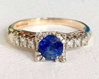 Fine Detail Vintage Blue Sapphire Engagement Ring 14k