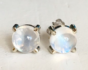 White Gold Moonstone Stud Earrings 14k