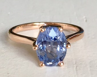 Periwinkle Violet Blue Sapphire Engagement Ring 14k Rose Gold