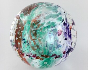 Hand Blown Glass Paperweight  - Cosmic Bubble Weight by Jonathan Winfisky