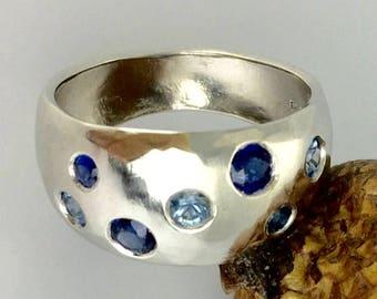 Platinum Blue Sapphire Engagement Ring Wedding Band