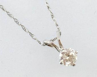 Diamond Solitaire Pendant Necklace - 14k White Gold